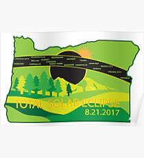 2017 Total Solar Eclipse Across Oregon Cities Map Illustration Poster
