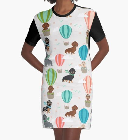 Dachshund hot air balloon dachsie doxie dog breed cute pattern for weener dog lover Graphic T-Shirt Dress
