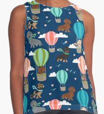 Dachshund hot air balloon dachsie doxie dog breed cute pattern for weener dog lover Contrast Tank