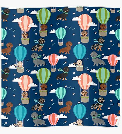 Dachshund hot air balloon dachsie doxie dog breed cute pattern for weener dog lover Poster