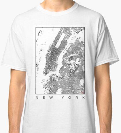 New York Map Schwarzplan Only Buildings Urban Plan Classic T-Shirt