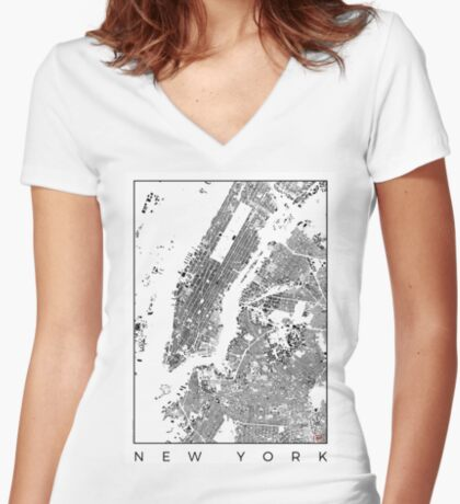 New York Map Schwarzplan Only Buildings Urban Plan Women's Fitted V-Neck T-Shirt