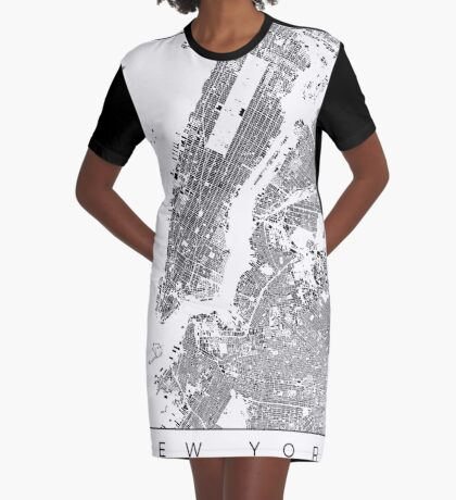 New York Map Schwarzplan Only Buildings Urban Plan Graphic T-Shirt Dress