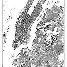 New York Map Schwarzplan Nur Gebäude Urban Plan von HubertRoguski
