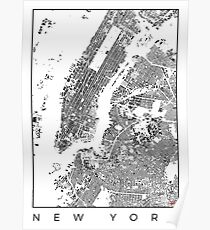 New York Map Schwarzplan Only Buildings Urban Plan Poster