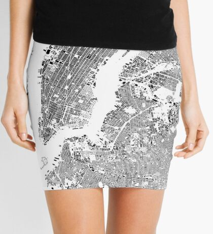 New York Map Schwarzplan Only Buildings Urban Plan Mini Skirt
