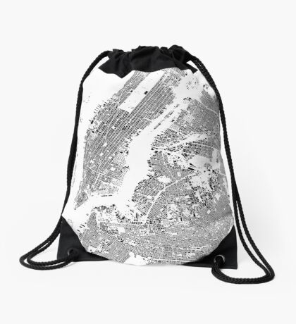 New York Map Schwarzplan Only Buildings Urban Plan Drawstring Bag