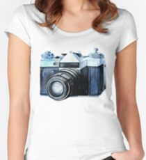 Watercolor vintage SLR camera Women's Fitted Scoop T-Shirt