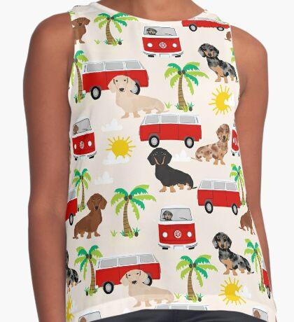 Dachshund summer beach dachsie doxie dog breed cute pattern for weener dog lover Sleeveless Top