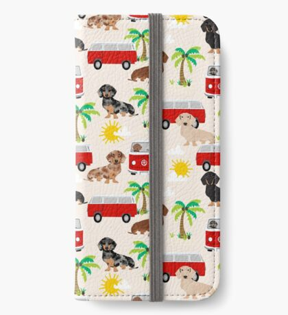 Dachshund summer beach dachsie doxie dog breed cute pattern for weener dog lover iPhone Wallet