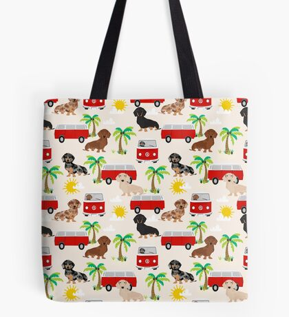Dachshund summer beach dachsie doxie dog breed cute pattern for weener dog lover Tote Bag