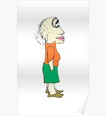 Bored Rastafari Woman Drawing Caricature Poster