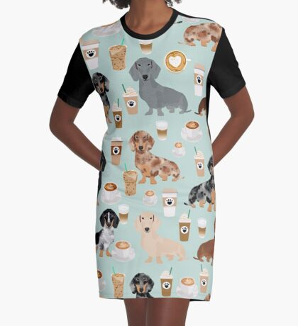 Dachshund coffee latte dachsie doxie dog breed cute pattern for weener dog lover Graphic T-Shirt Dress