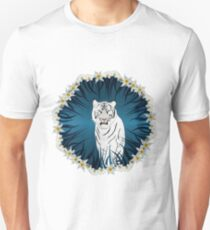 White Tiger with Orchid Grass Wreath T-Shirt