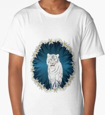 White Tiger with Orchid Grass Wreath Long T-Shirt