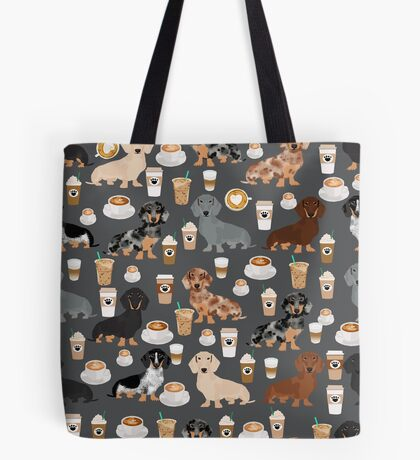 Dachshund coffee latte dachsie doxie dog breed cute pattern for weener dog lover Tote Bag