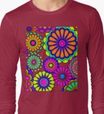 Flower Power Retro Stil Hippie Blumen Langarmshirt