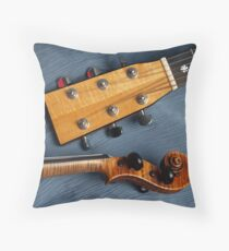 Guitar & Violin Harmony on Blue Throw Pillow