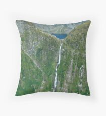 Sutherland falls and Lake Quill MIlford South Island New Zealand Throw Pillow
