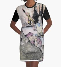 Vintage 70's Galactic Dinosaure Hunter Graphic T-Shirt Dress