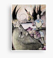 Vintage 70's Galactic Dinosaure Hunter Canvas Print
