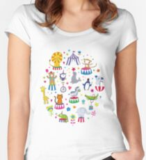Circus Animal Alphabet - multicoloured on sky blue Women's Fitted Scoop T-Shirt