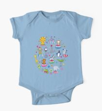 Circus Animal Alphabet - multicoloured on sky blue One Piece - Short Sleeve