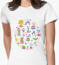 Circus Animal Alphabet - multicoloured on sky blue Womens Fitted T-Shirt