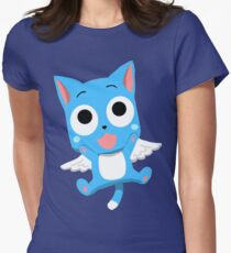 Blue Happy Anime Kitten Cat Womens Fitted T-Shirt