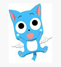 Blue Happy Anime Kitten Cat Photographic Print