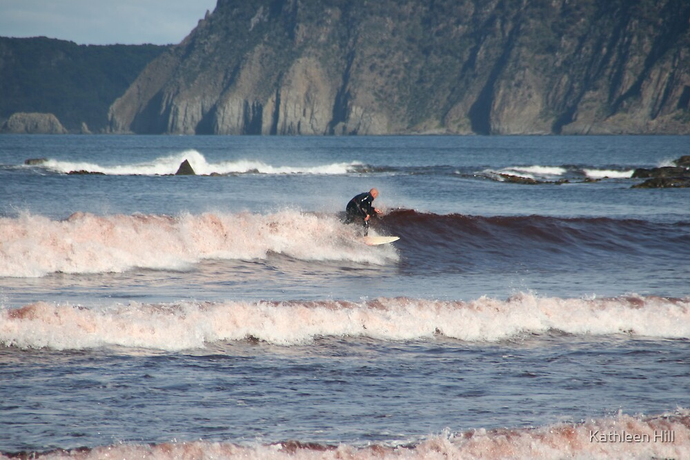 Surfer in pink by Kathleen Hill