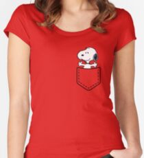 Pocket Snoopy Dog Women's Fitted Scoop T-Shirt