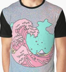 Japanese pastel kawaii Kanagawa anime meme surf beach wave Graphic T-Shirt