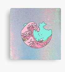 Japanese pastel kawaii Kanagawa anime meme surf beach wave Canvas Print