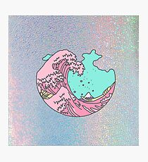 Japanese pastel kawaii Kanagawa anime meme surf beach wave Photographic Print