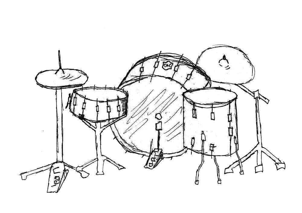Drum kit drawing by Tucker Nightly
