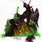 Smoking Unicorn by Stephanie Small