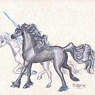 Magical Unicorns Galloping by Stephanie Small