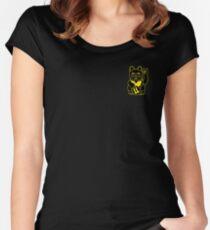 Black HOLLO (maneki-neko) Lucky Cat Print Women's Fitted Scoop T-Shirt