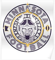 Minnesota Football Viking Compass - North Star Sports Collection (Purple and Gold) Poster
