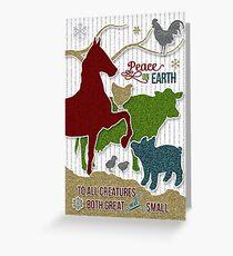 Barnyard Animals | Peace on Earth Christmas Greeting Card