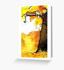 Calvin and Hobbes Autumn Greeting Card