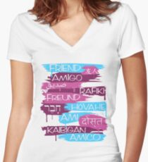 Friends From Other Ends - Coral and Purple Women's Fitted V-Neck T-Shirt