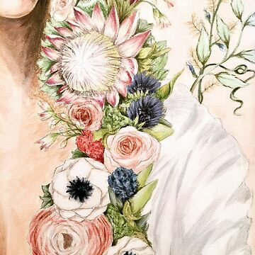 Original Floral Painting: Natural Girl by fossyboots