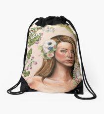 Original Floral Portrait Painting: Au Naturale Drawstring Bag