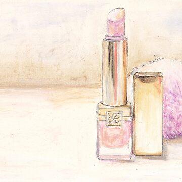 Original Still Life: Lipstick and Powder Puff by fossyboots