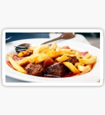 Pieces of stewed beef with fried potatoes Sticker
