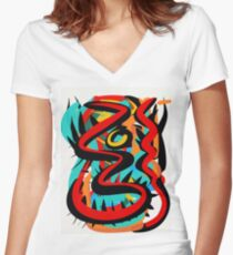 Abstract Life Force Art Women's Fitted V-Neck T-Shirt