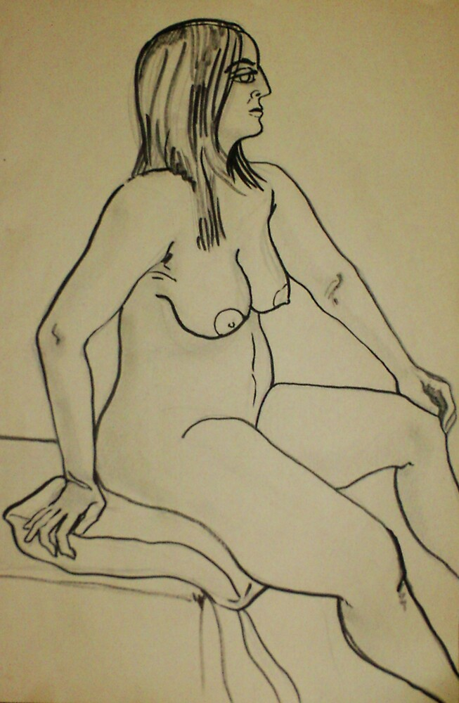 Proud Female Nude (Ink)- by Robert Dye