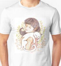Sleeping White Cat Slim Fit T-Shirt